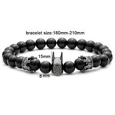 black man bracelet images Magic fish natural bead silver batman charms punk man bracelet men jpg