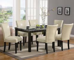 Wooden Dining Table With Marble Top Dining Room Ideas Fine Looking 7 Pieces Dining Set With Creamy