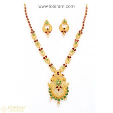 gold haram sets 22k gold rubies emeralds sets indian gold jewelry from totaram