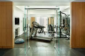 gym decorating ideas home gym modern with wood grain tile floor
