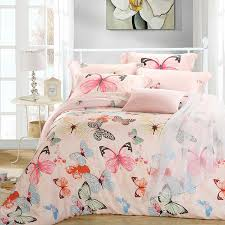 Tropical Duvet Covers Queen Luxury Butterfly Queen King Size Bedding Sets Pink Quilt Duvet
