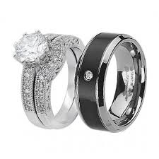his and wedding sets his hers 3pcs wedding engagement ring set black titanium cz