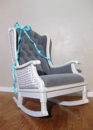 Grey Nursery Rocking Chair Antique Vintage Nursery Rocker Rocking Chair White Grey Velvet