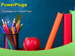 download this powerpoint template of books stationery pencils