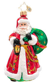 christopher radko carrying the handcrafted glass santa