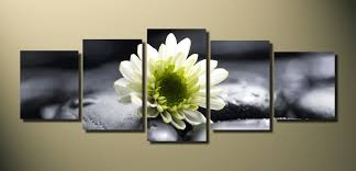 White Flower Wall Decor 5 Piece Panoramic Canvas Print White Flower Huge Pictures Floral
