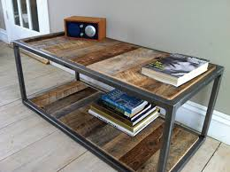 steel and wood table modern industrial wood steel bricklayers style coffee table