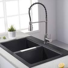 what is a drop in sink shop kraus kitchen sink 22 in x 33 in black onyx double basin