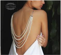 wedding backdrop necklace bridal jewelry set wedding necklace ivory pearl back drop