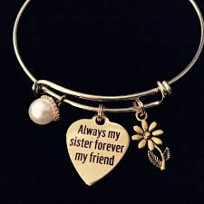 bangle charm bracelet gold images Gold always my sister forever my friend expandable charm bracelet jpeg