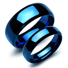 blue wedding rings fashion stainless steel plain rings for blue color plated