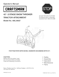 craftsman snow blower 486 24837 user guide manualsonline com