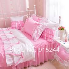 Girls Bed Skirt by Princess Rustic Pink Color 100 Cotton Wedding Bedding 4pcs Set