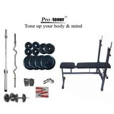 Weight Bench Package Protoner Weight Lifting Package 100 Kgs I D F Bench H Grip