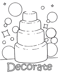 decorate your own wedding cake colouring page wedding