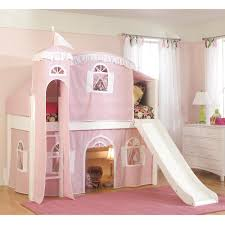 twin loft castle tower playhouse bed with slide and ladder