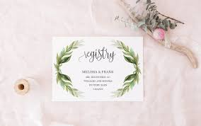 gift registry cards floral laurel greenery registry cards template diy gift registry