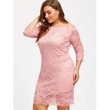 off shoulder plus size lace dress pink xl in plus size dresses