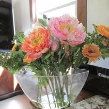 Peony Arrangement Mixed Silk Peony Arrangement With Glass Vase Free Shipping Today