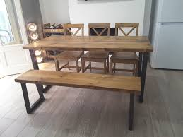 brinkley rustic industrial reclaimed wood dining table metal u