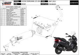 s 043 lbsc exhaust mivv sport stronger black suzuki burgman 125