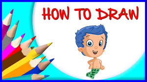 how to draw gil cartoon character from bubble guppies step by