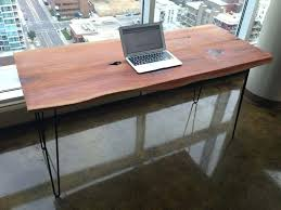 solid wood desk computer table live edge wood mid century hairpin