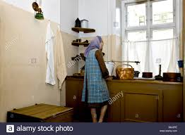 Danish Kitchen Design Dummy Woman In Traditional Danish Kitchen From 1920 Stock Photo
