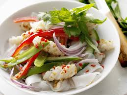 char grilled chilli squid and rice noodle salad recipe food to love