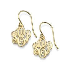 monogram earrings gold fancy script dangle monogram earrings be monogrammed