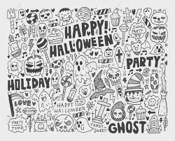 doodle halloween holiday background royalty free cliparts vectors