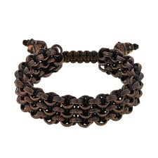 mens bracelet charms images Men 39 s 3 row vintage copper oxide brown leather sport links jpg