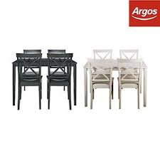 argos kitchen furniture home dining table and cross back chairs white black from