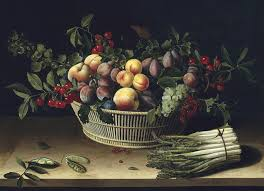 basket of fruit still with a basket of fruit and a bunch of asparagus