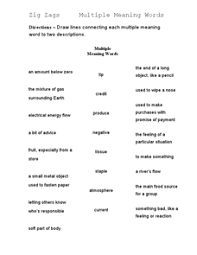 Meaning Words Worksheets Zig Zags Meaning Words 4th 5th Grade Worksheet