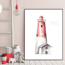 lighthouse home decor watercolor cartoon lighthouse sea art canvas poster print picture