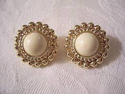 monet earrings monet beige marble clip on earrings gold tone bead