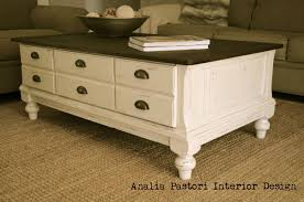 distressed antique white country farmhouse style coffee table