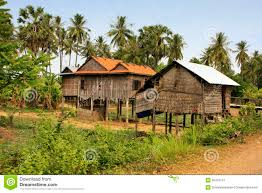 stilt houses in a small village near kratie cambodia royalty free