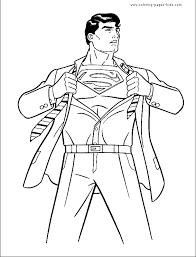 Superman Color Page Cartoon Characters Coloring Superman Coloring Pages Print