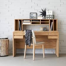 bureau teck massif bureau en teck massif naturel 5 tiroirs 10 niches decoclico