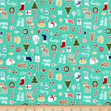 riley blake cozy christmas main teal discount designer fabric