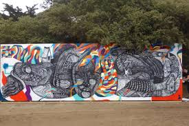 live painted murals at san francisco outside lands street art sf zio ziegler cannon dill and brett flannigan street art mural at outside lands festival in