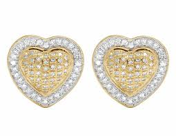 real earrings 10k yellow gold diamond 7mm puffed heart studs