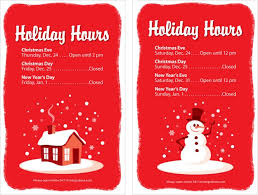 holiday hours sign templates best holiday 2017