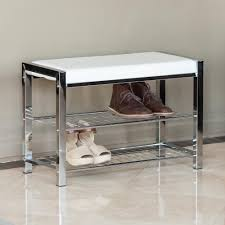 danya b white leatherette with chrome frame storage entryway bench