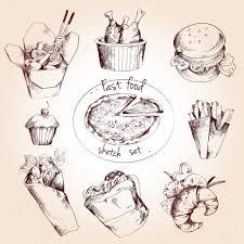 fast food sketch set u2014 stock vector macrovector 57489465