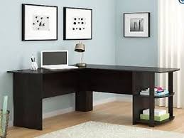 desk with shelves on side l shaped desk with side storage dark russet cherry black ebony ash