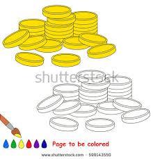 cute gold cash coins coloring book stock vector 602251370