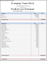 Profit And Loss Statement Template Excel Profit And Loss Statement Template Page Word Excel Formats